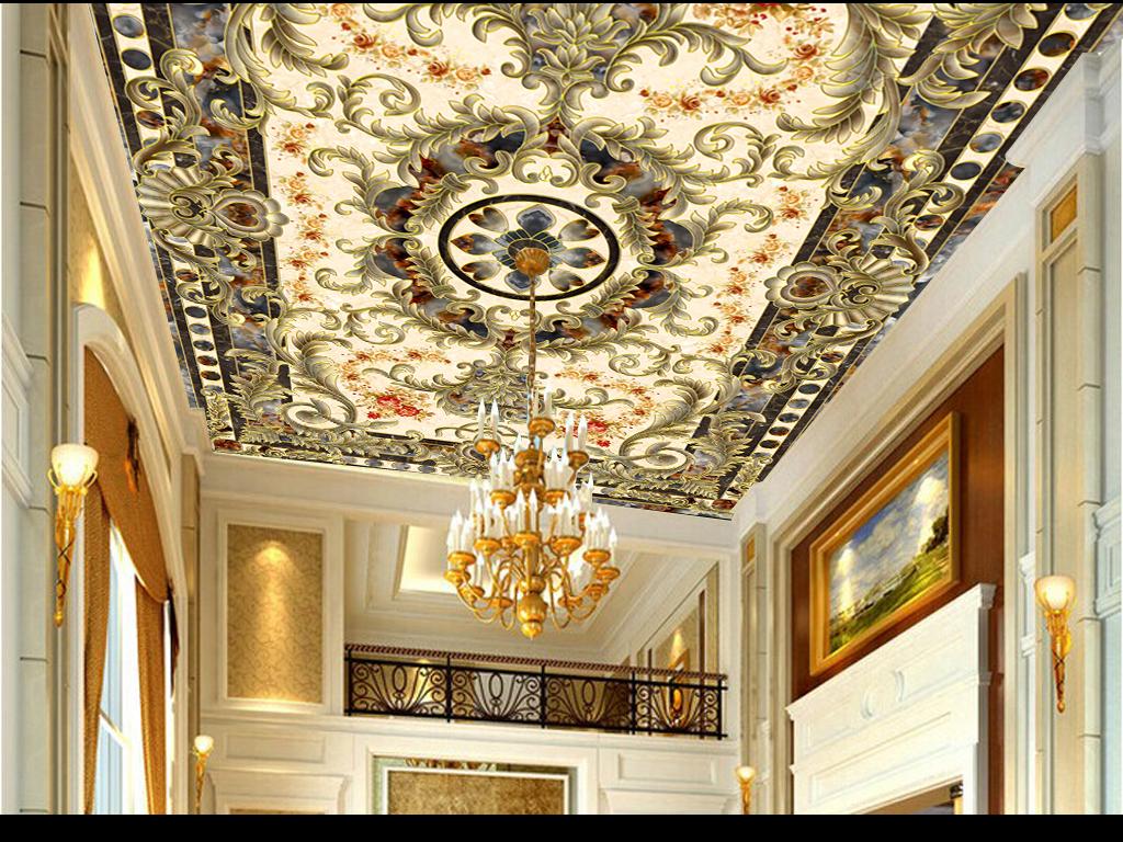 超高清大气欧式天花吊顶欧式石材拼花地毯(图片编号:)图片