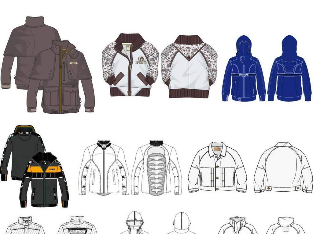 cdr)正反面童装款式图素材童装外套设计童装夹克设计素材