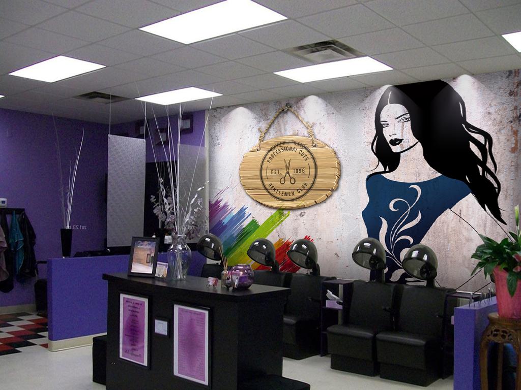 怀旧墙壁美发店美女剪影工装背景墙图片