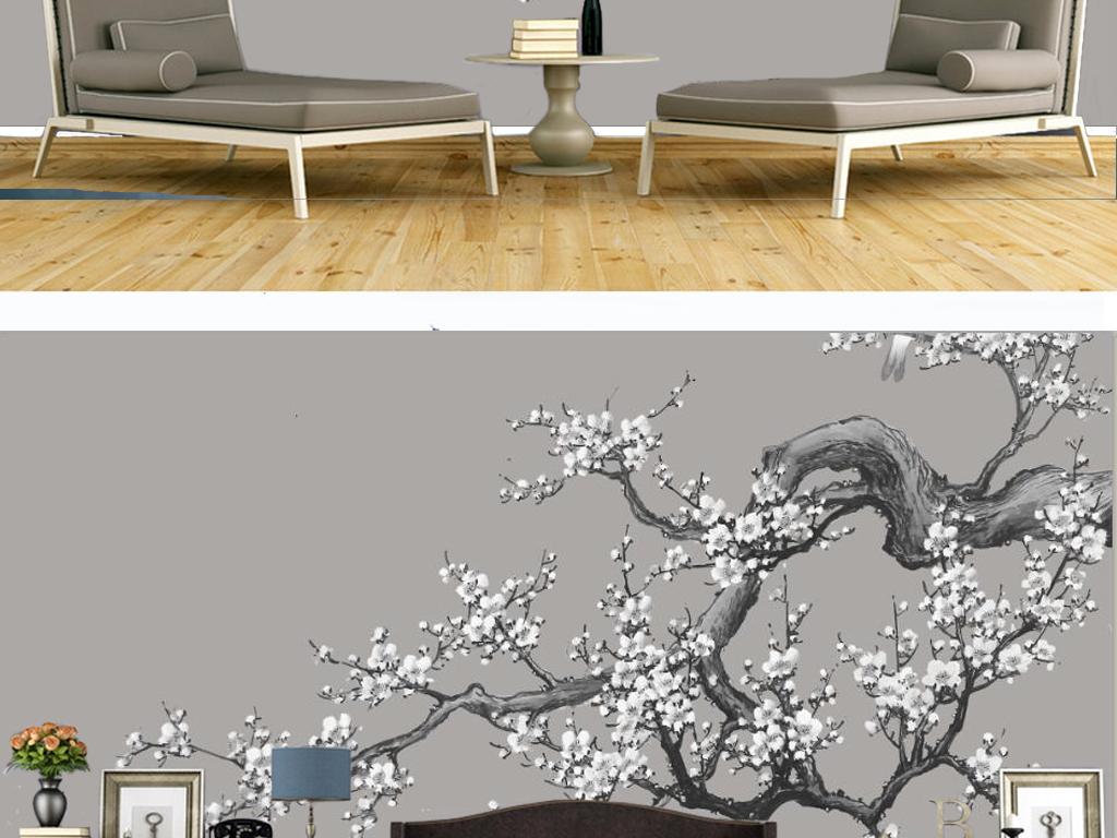 手绘国画新中式中式风格梅花梅花树树树干树枝花卉白
