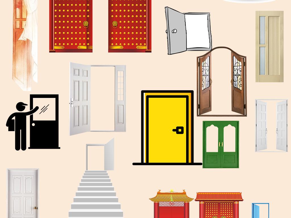 实物欧式古典大门设计海报素材