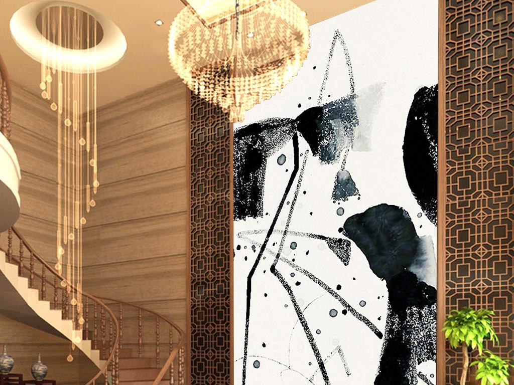 爱莲说黑白手绘写意荷塘手绘客厅玄关装饰画