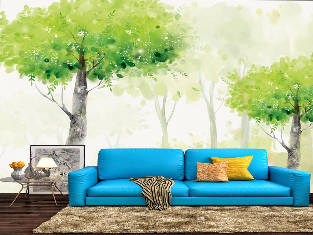 背景墙 电视背景墙 美式背景墙 > 手绘北欧现代油画电视背景壁画装饰