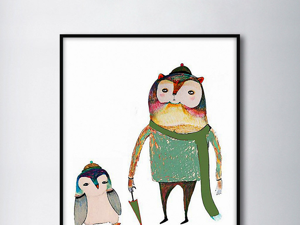 欧式手绘猫头鹰现代手绘中式现代可爱手绘母爱图片母爱素材母爱动画