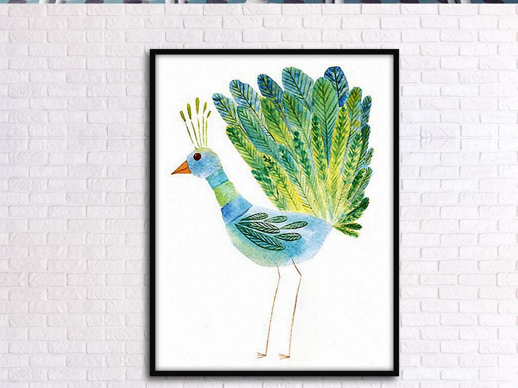 小孔雀北欧小清新手绘动物现代客厅装饰画