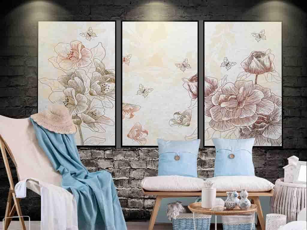 美式现代手绘线条玫瑰背景壁画壁纸装饰画
