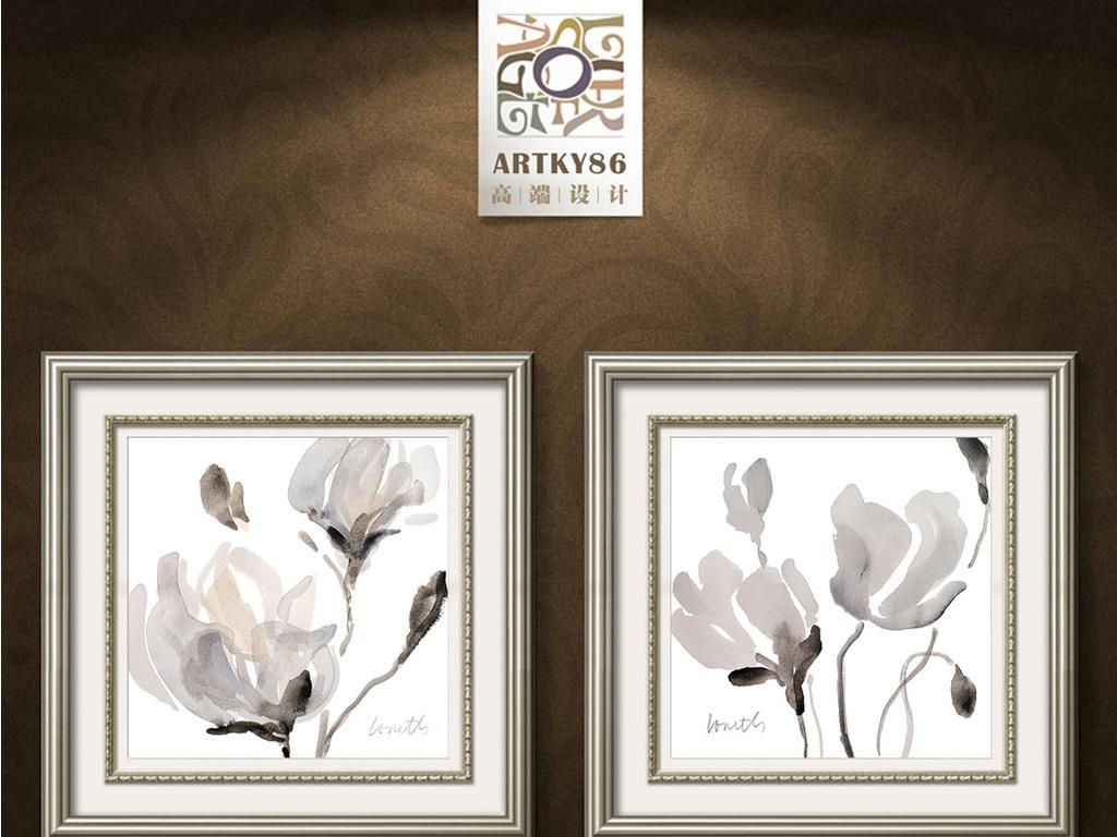 黑白抽象罂粟花装饰画