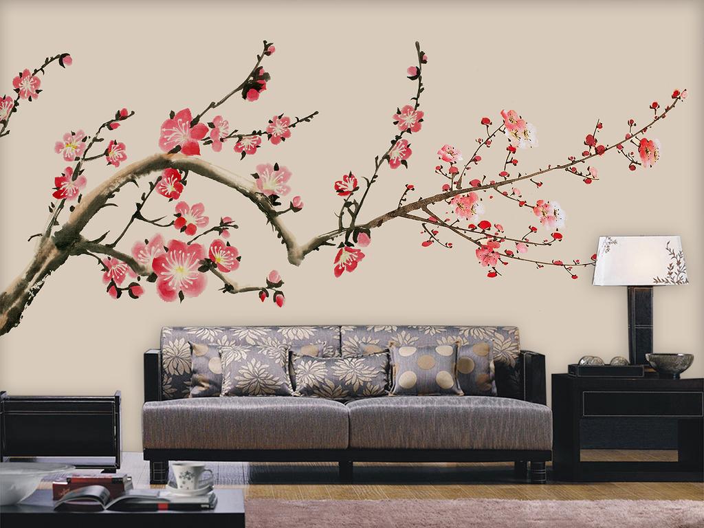 红梅花背景墙手绘梅花新中式工笔画素雅梅花