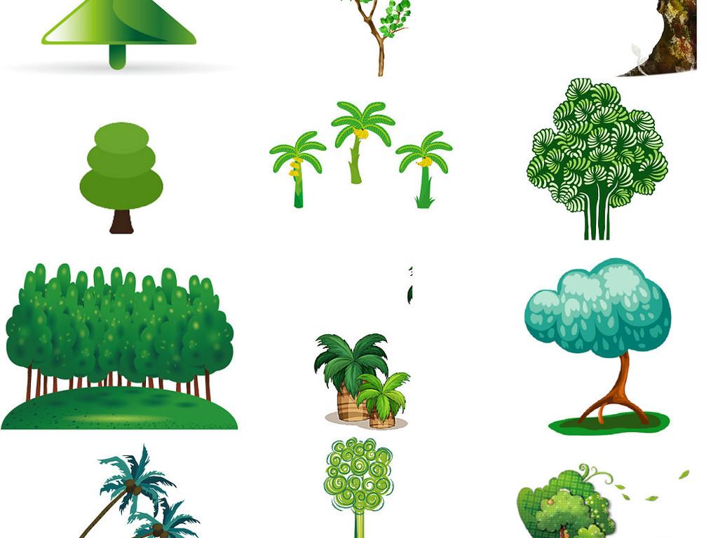 植树节卡通绿树免抠png海报设计素材2