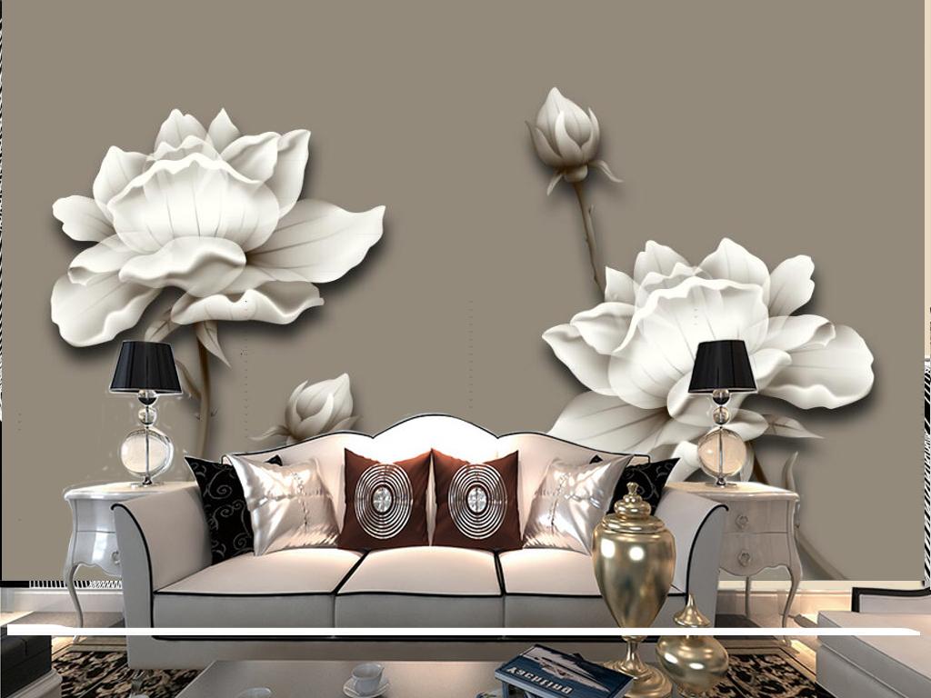新中式手绘白玫瑰花朵电视背景墙