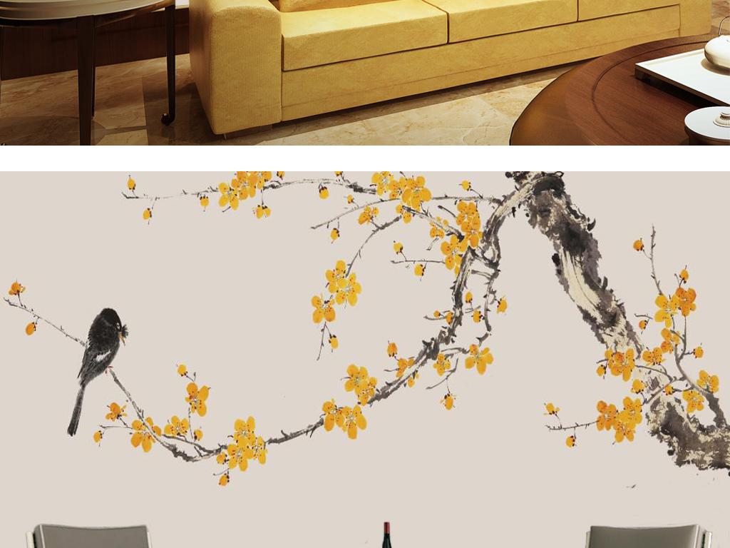 新中式手绘工笔黄梅花国画电视背景墙