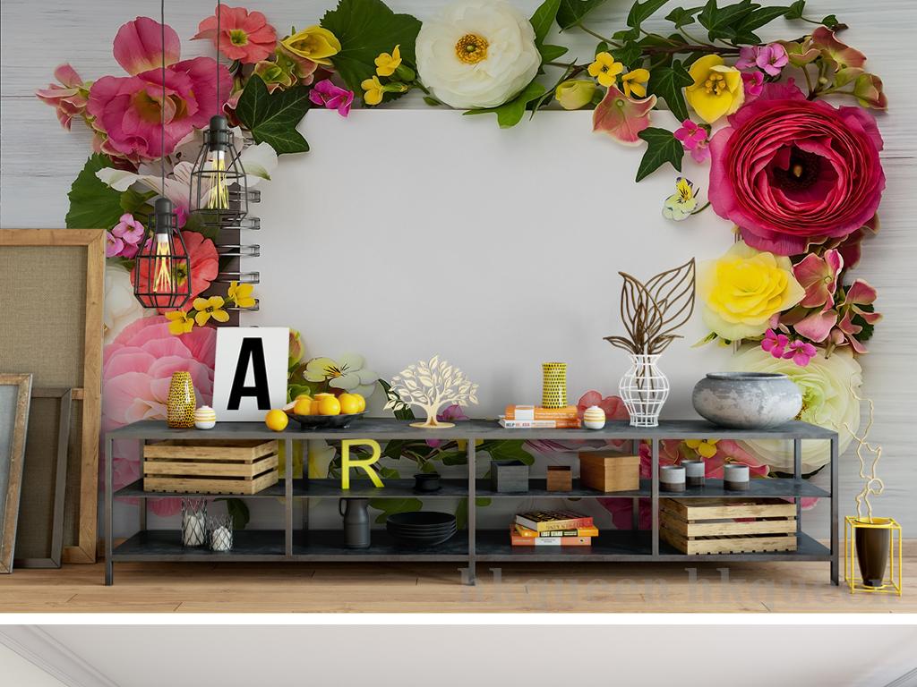 花团锦簇唯美浪漫手绘背景墙图片手绘电视背景墙背景
