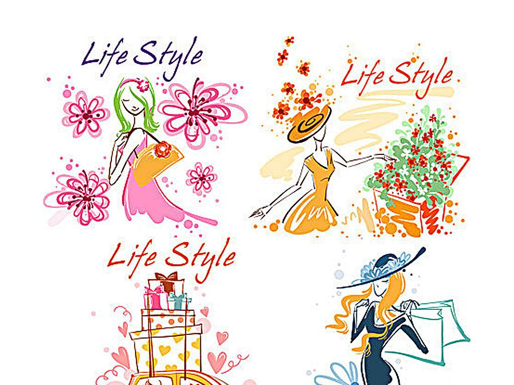 手绘美女花卉插画矢量素材