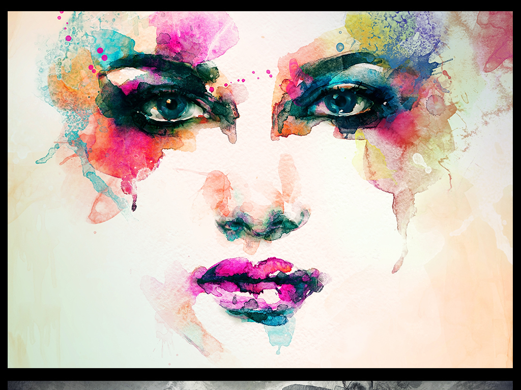 欧式艺术简约壁纸抽象美女水墨抽象抽象水墨水墨装饰