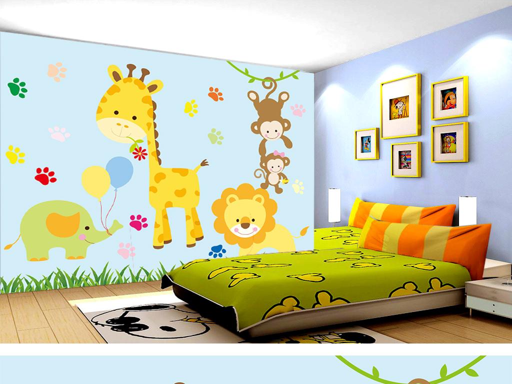 可爱简约卡通动物儿童房背景墙