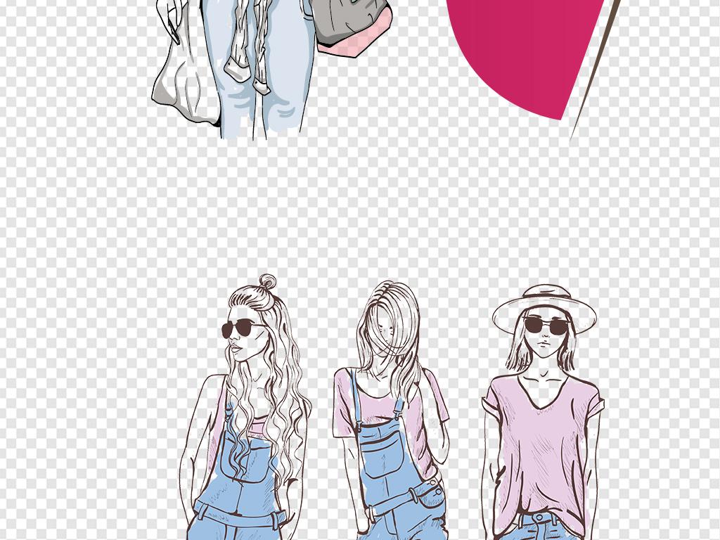 模特服装设计素描水彩秋装搭配卡通人物手绘美女设计