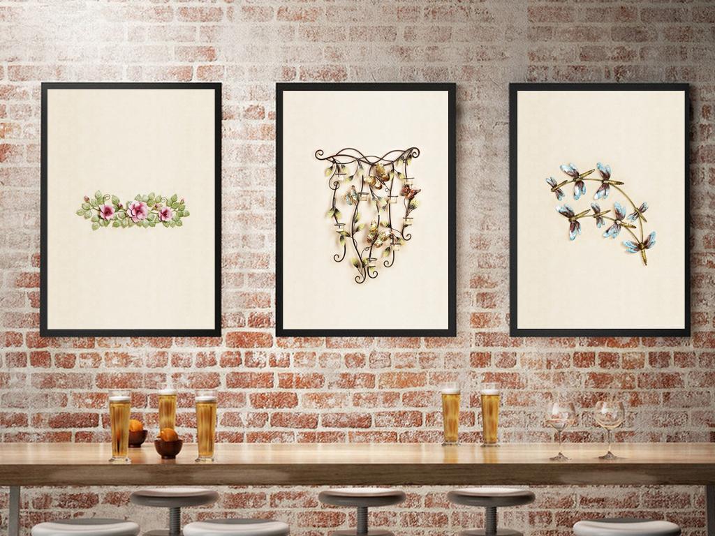 欧式餐厅蝴蝶壁挂图