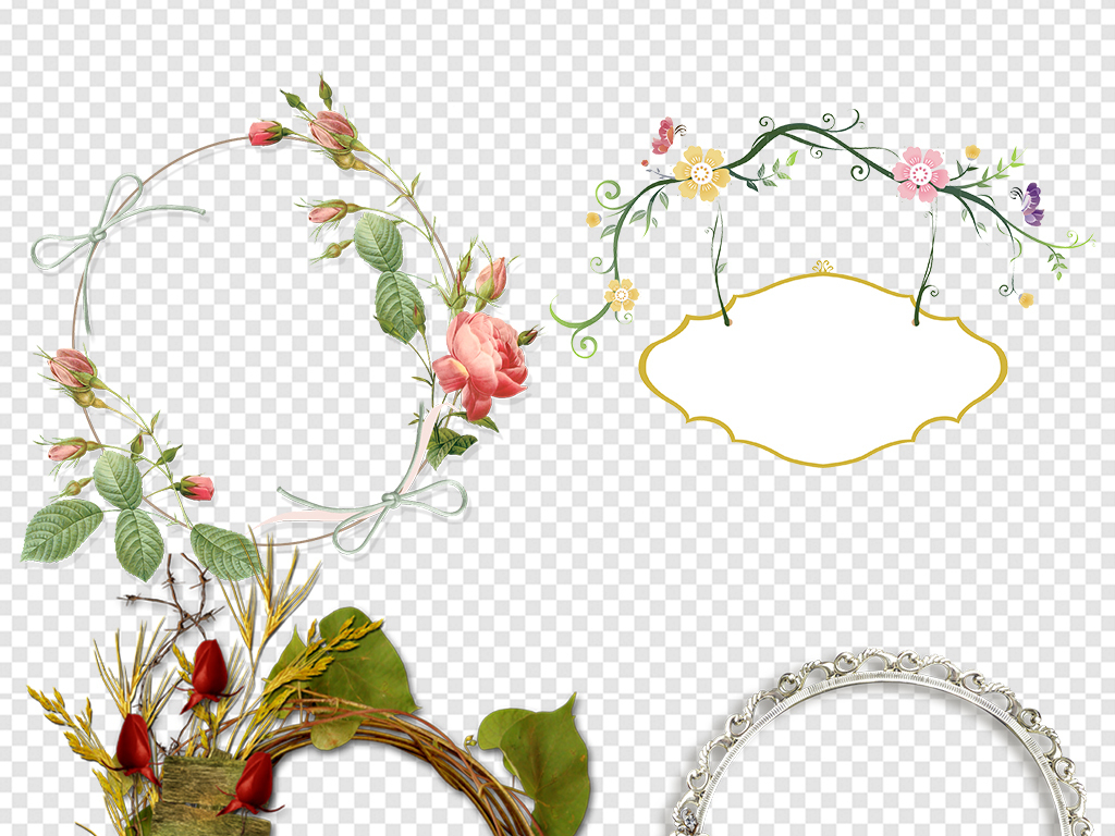 圈圈手绘花                                  鲜花花环