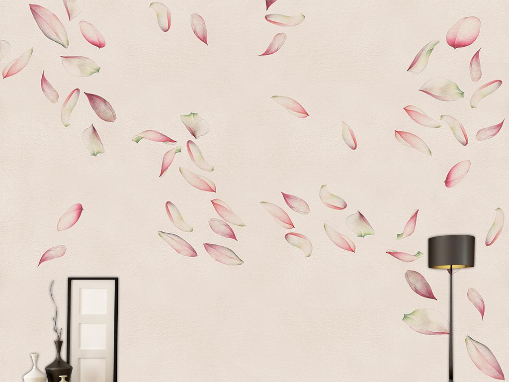 新中式现代简约手绘荷花花瓣壁画装饰画图片设计素材图片