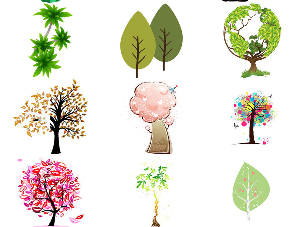卡通小树卡通大树免抠设计图集1