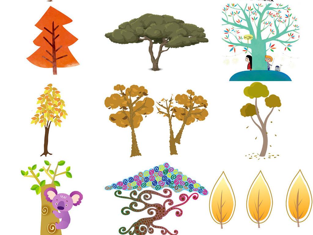 卡通小树木免抠透明素材集1