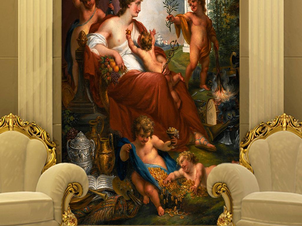 欧式古典人物壁画