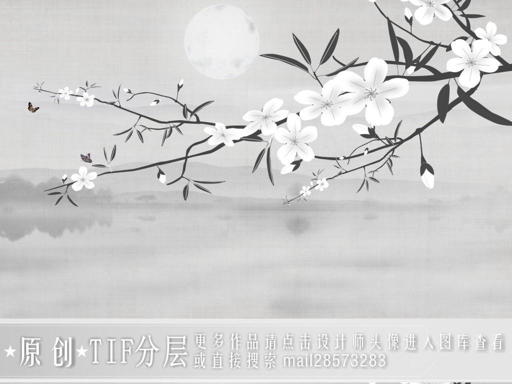 新中式花鸟山水黑白水墨背景墙纸装饰画
