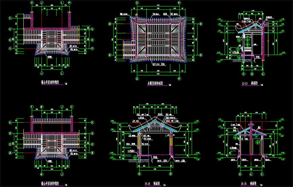 dwg)古建筑cad施工设计图古建筑钢结构施工cad仿古