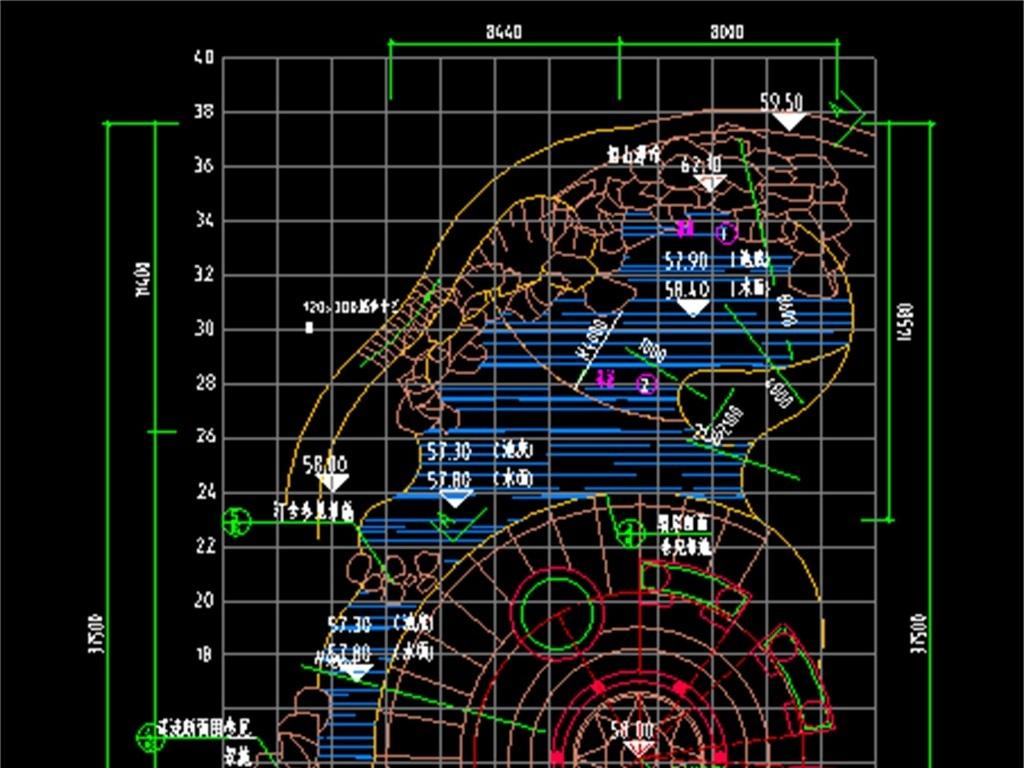 假山瀑布景观cad设计图平面图下载(图片0.19mb)_cad