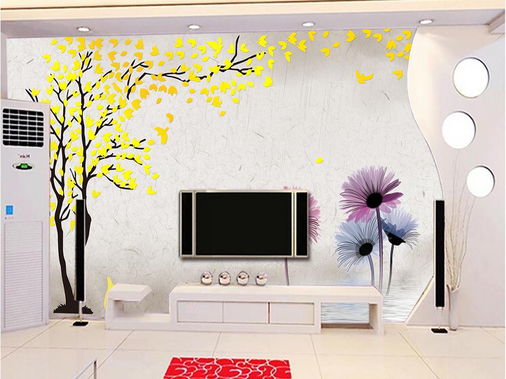 电视背景墙卡通树复古欧式抽象树抽象花卉金色紫色背