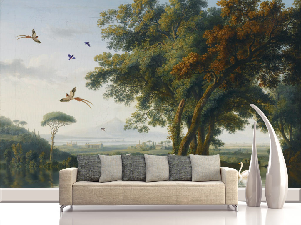 画风景手绘背景墙树林森林丛林村庄田野草坪乡村音乐河水大树白天鹅羊