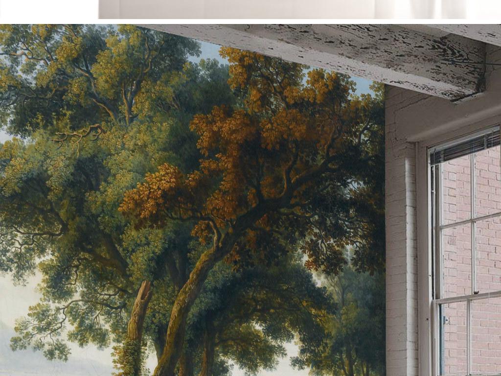 中世纪手绘乡村田园风景背景墙壁