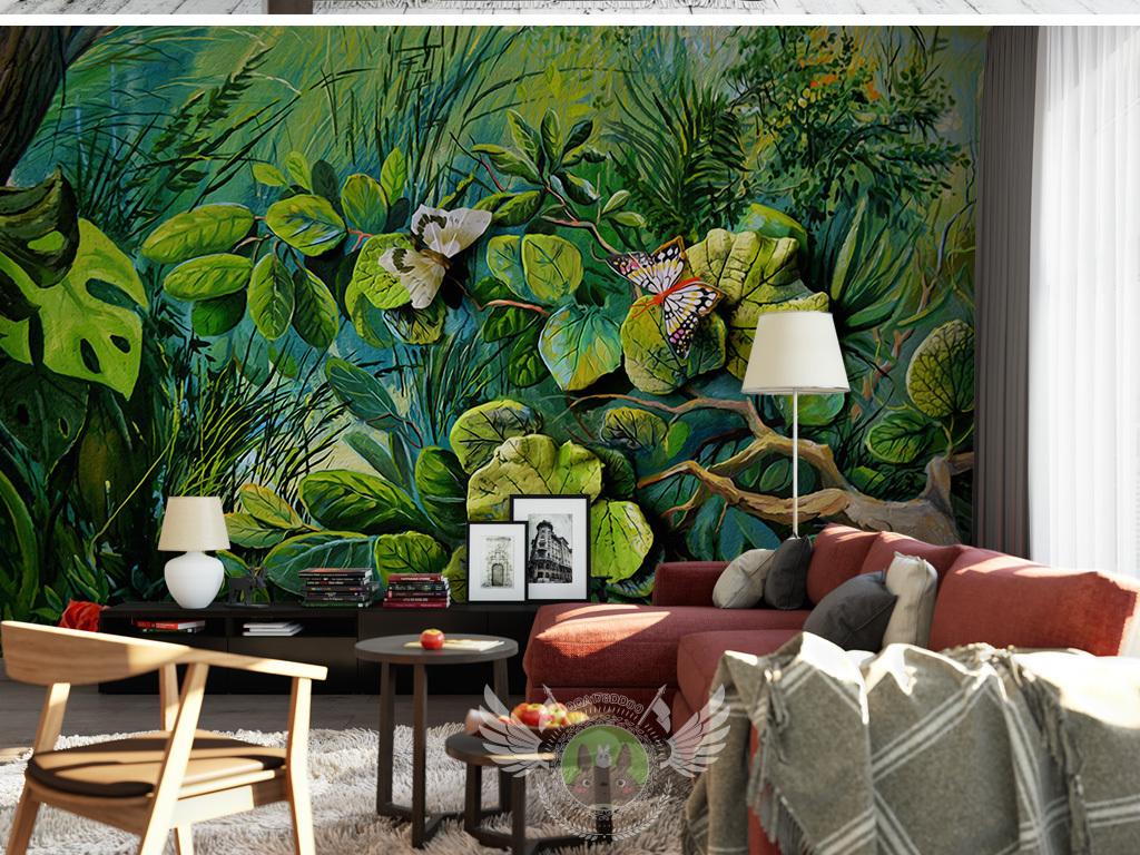 手绘水彩玫瑰大树浮雕3d立体热带森林花卉蝴蝶电视蝴蝶花卉森林蝴蝶