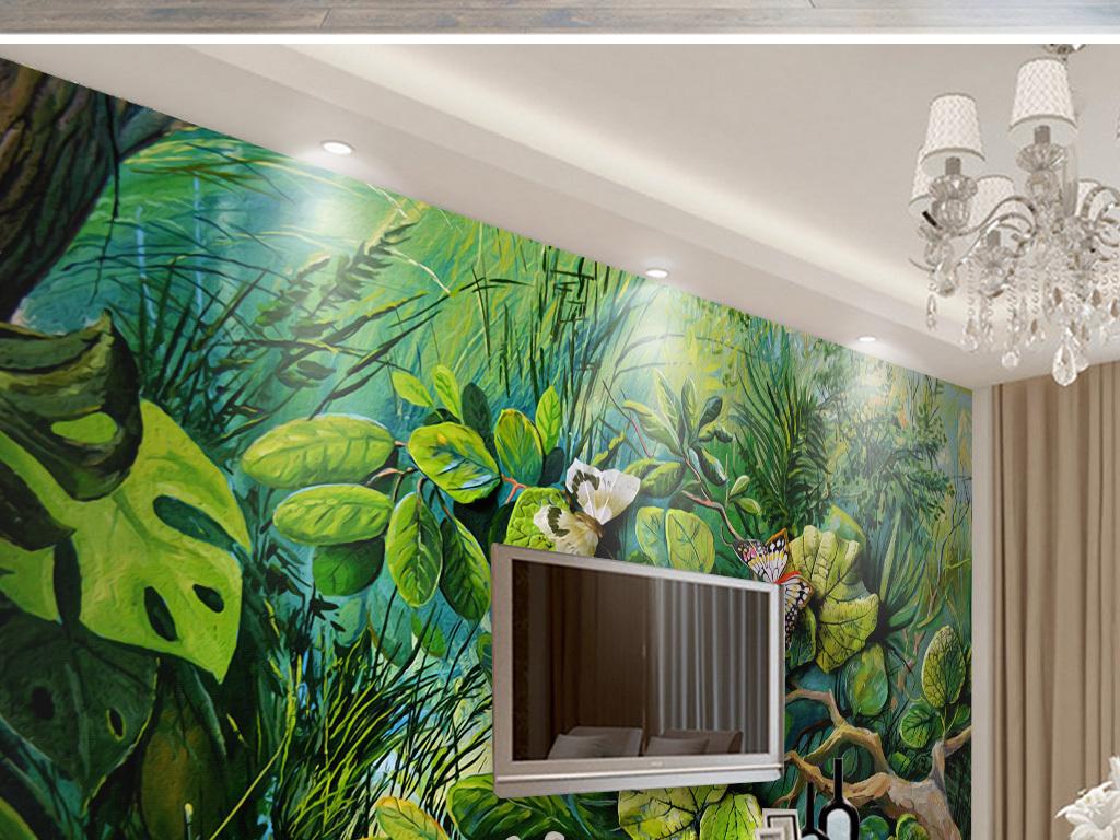 浮雕森林花卉蝴蝶电视背景墙