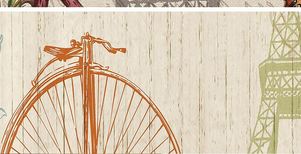 埃菲尔铁塔复古剪影装饰画