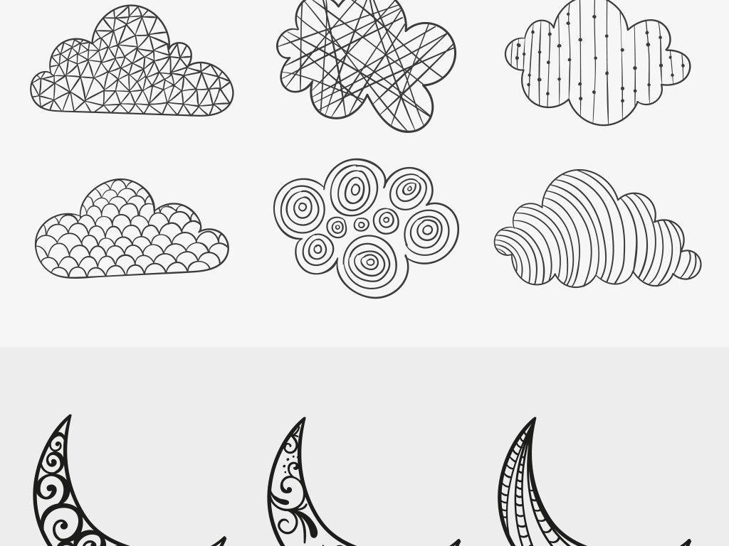 手绘线稿月亮白云矢量素材