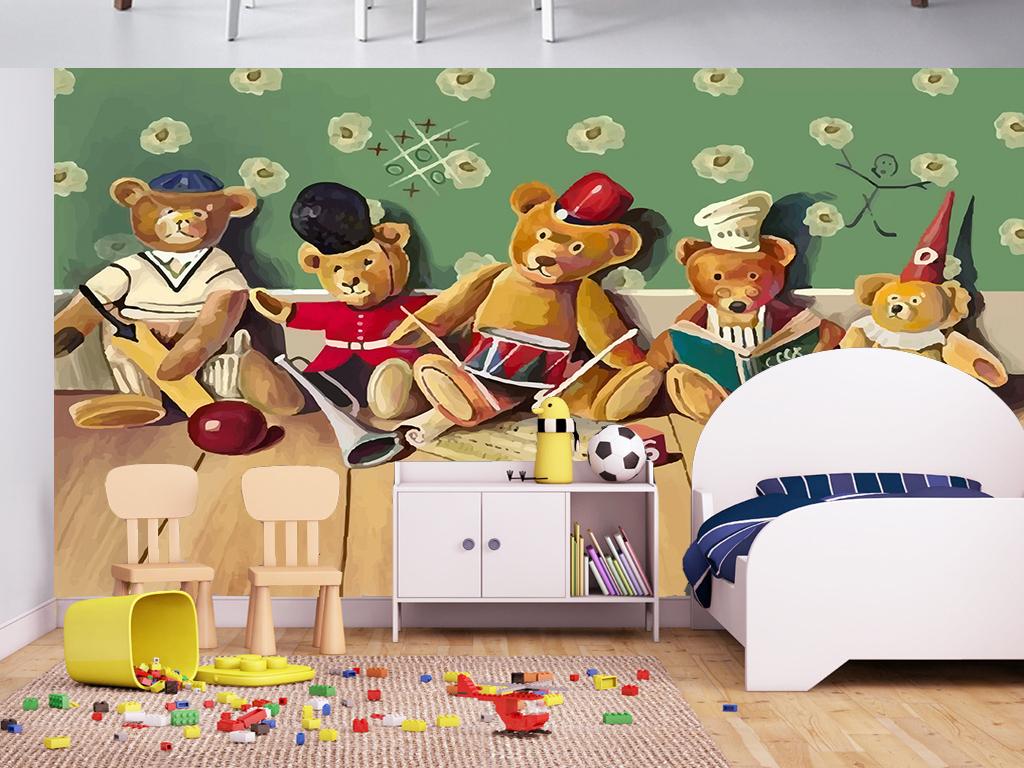 手绘北欧卡通木板玩偶熊儿童房电视背景墙