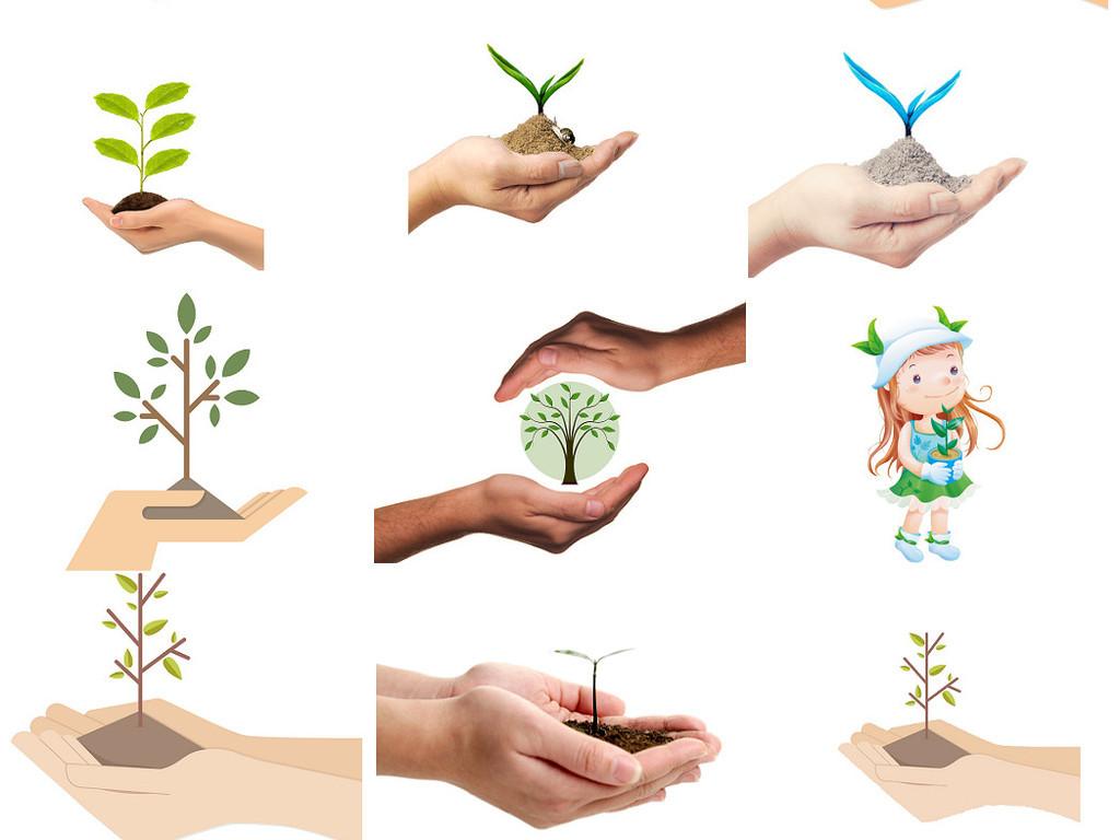 保护环境环保手捧树苗免抠设计素材