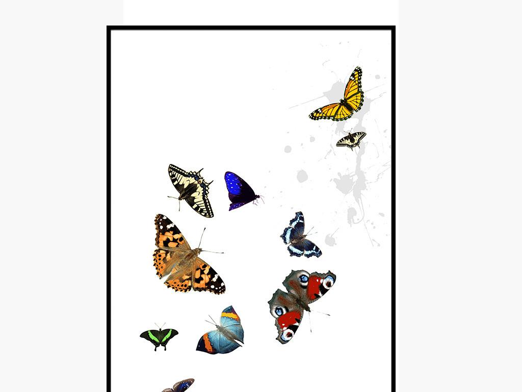 背景墙|装饰画 无框画 动物图案无框画 > 现代简约蝴蝶水彩家居墙装饰