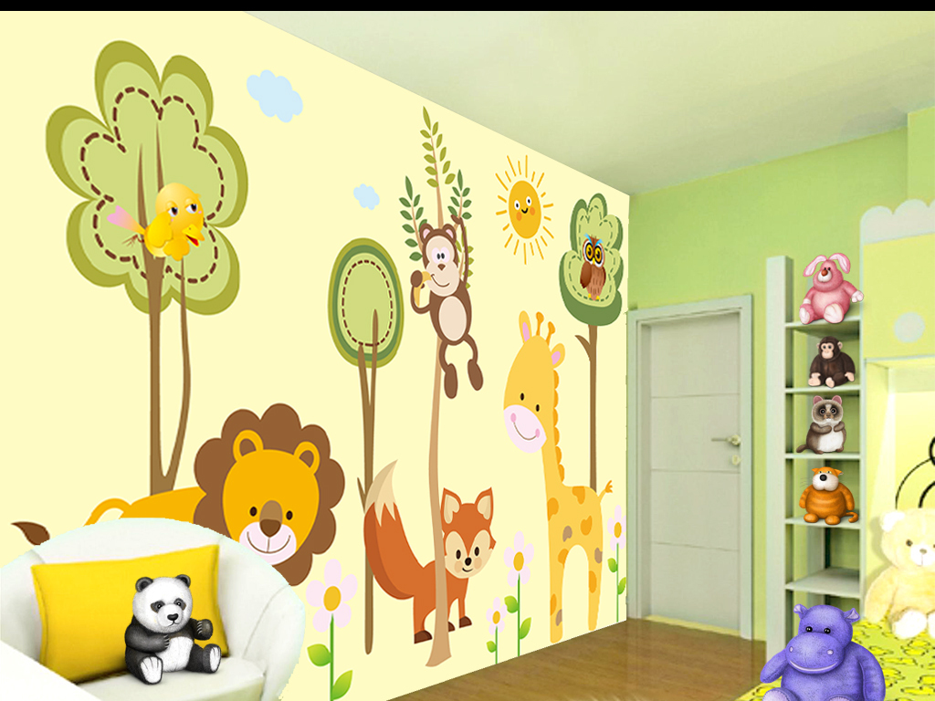 背景墙图片幼儿园卡通动物大树树林儿童背景电视背景
