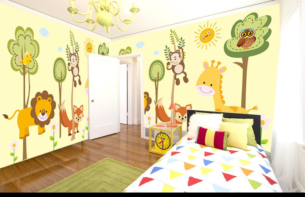 幼儿园卡通动物大树树林儿童背景电视背景墙3d电视