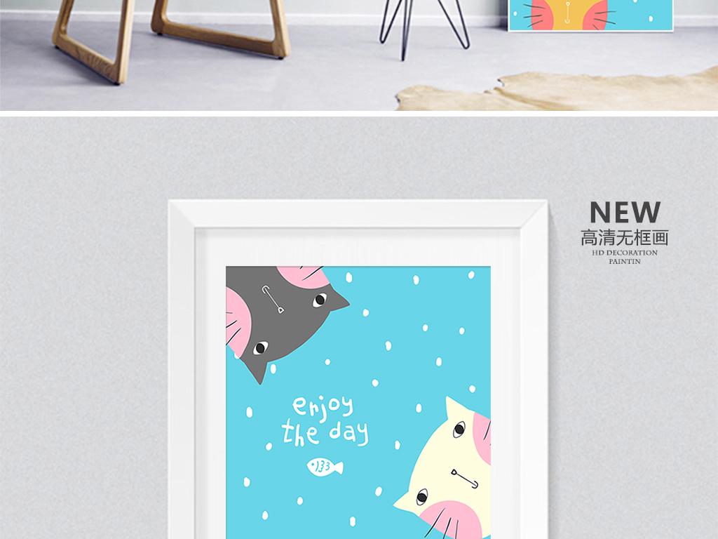 鲸鱼北欧风格手绘三联无框画装饰画插画 位图, rgb格式高清大图,使用