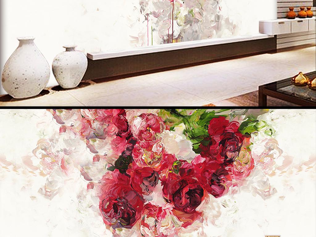 抽象手绘油画玫瑰蔷薇壁纸背景墙