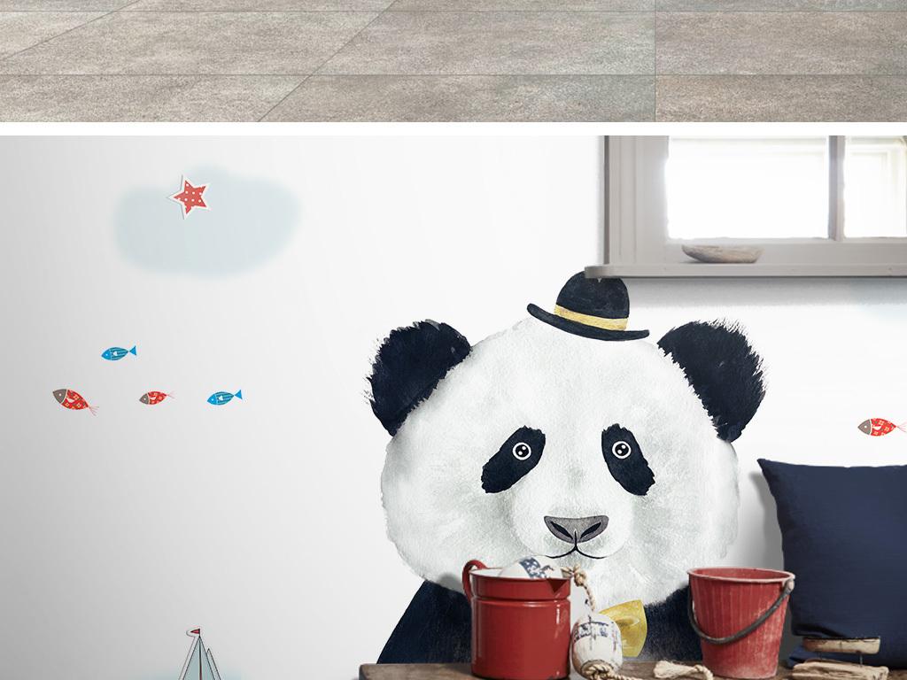 小猴子儿童卧室壁纸儿童房背景墙儿童房墙画儿童房壁
