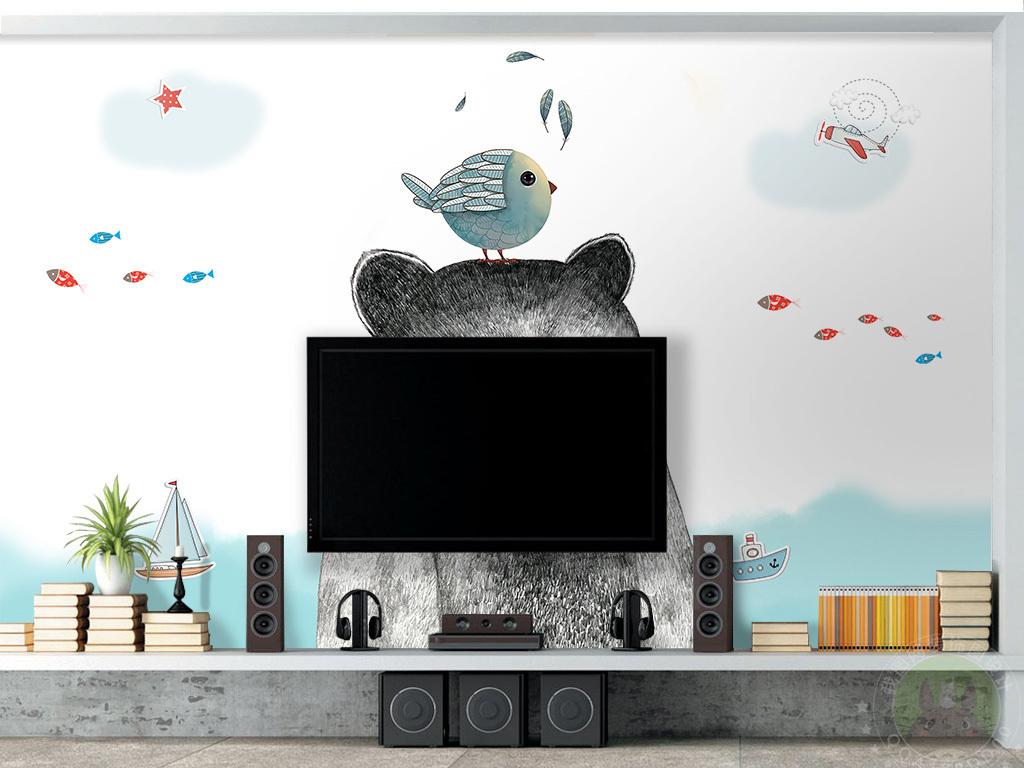 北欧简约手绘小熊儿童房背景墙