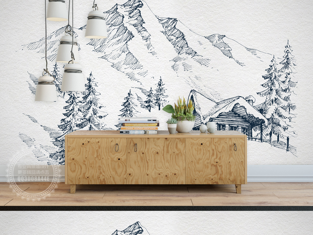 psd)手绘速写雪山素雅背景墙手绘背景墙素雅背景墙北欧极简背景墙雪山