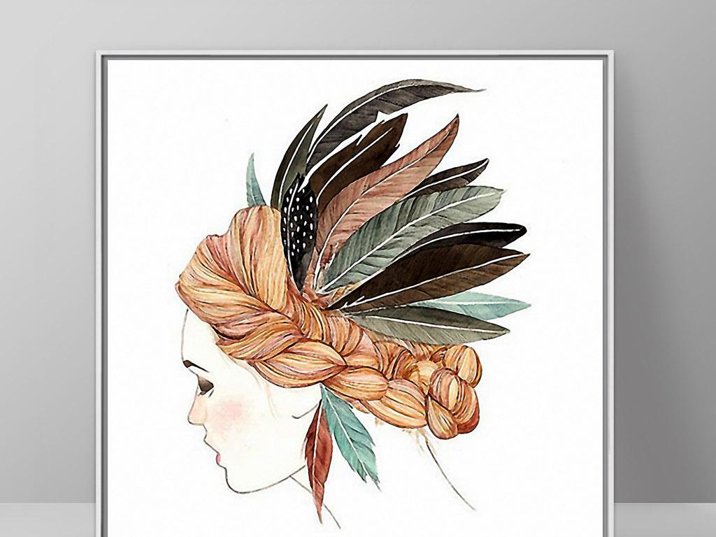 背景墙|装饰画 无框画 人物无框画 > 羽毛头饰北美印第安欧式手绘人物