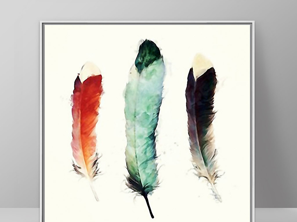 三只羽毛手绘水彩画欧式现代简约家居装饰画