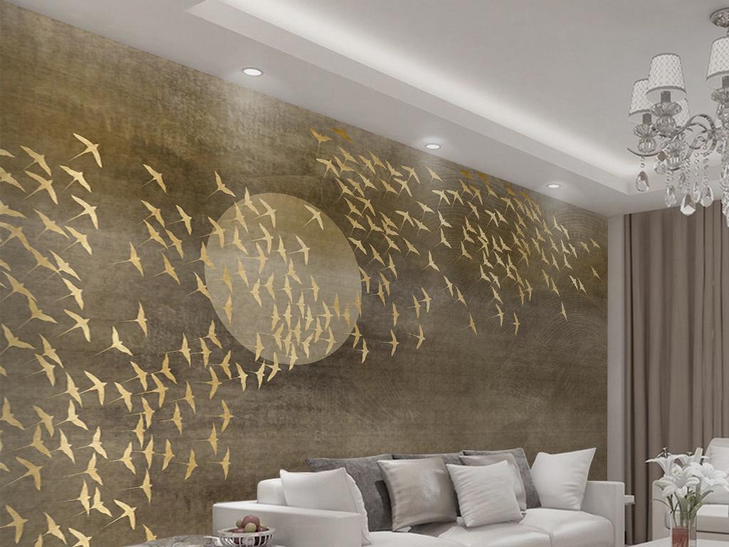 新中式千鸟电视沙发背景墙图片