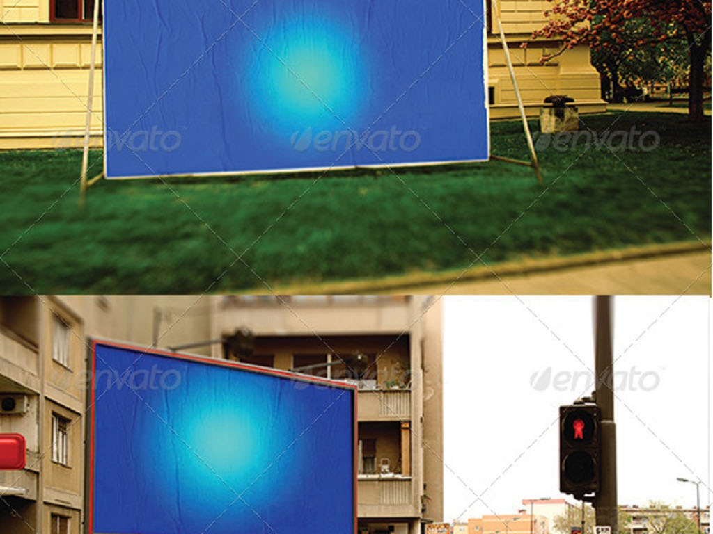 全套16款户外墙体街头广告牌样机图片